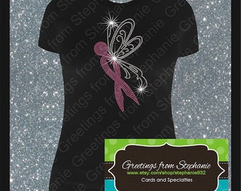 Breast Cancer Butterfly Ribbon Rhinestone T-shirt (Short and Long Sleeves)