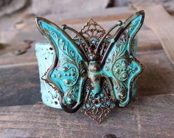 Turquoise Butterfly Leather Cuff - Recycled Leather Verdigris Bohemian Bracelet Jewelry