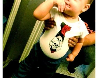 Skulls and Roses Tie Onesie - Punk Baby Clothes - Rockabilly Baby