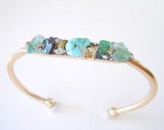 Raw Stone Bracelet - Gift for Her -Inlaid - Raw Neon Blue Apatite - Turquoise - Chalcopyrite - Bohemian Wedding