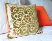 Vintage Small Pillow with Green Floral Velvet Design, a Neon Orange Velvet back, and a Peach Metal Zipper