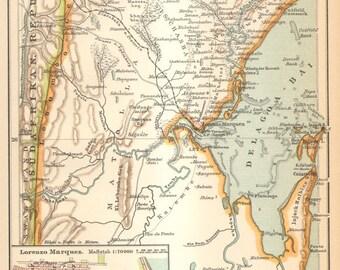 1894 Original Antique Map of Delagoa Bay, today Maputo Bay