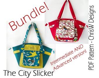 "BUNDLE of Two Handbag PDF purse patterns - ""The City Slicker"", Intermediate PLUS Advanced versions!"