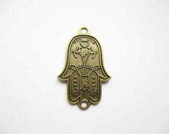 SALE - 5 Hamsa Hand Connector Charms in Bronze Tone - C1763