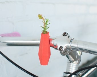 Geometric Handlebar Vase in Coral: A Wearable Planter For Your Bike