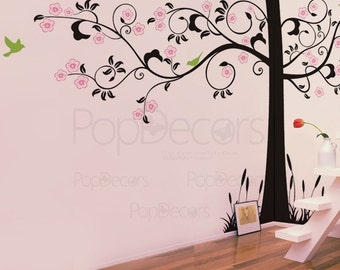 Super Big Tree Wall Decals Tree Wall Mural   Super Elegant Flower Tree    102 Part 48