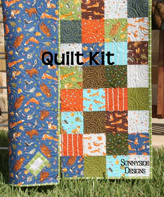 Forest Friends Quilt Kit Moda Fabrics Blue Green Orange