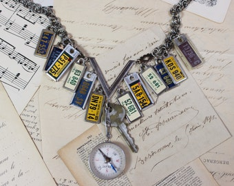 I Know Where I'm Going- Vintage Assemblage Necklace- Antique License Plate Charms, Compass, Key- One of a Kind