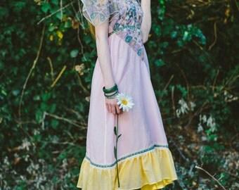 Pink floral dress, vintage inspired dress, 1970s style dress, bohemian dress, boho dress, prarie dress