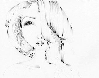 Modern Minimalist Art OOAK Pencil Drawing Illustration Fashion Illustration Pretty Girl Women Face Minimalist Fine Art Sketch Book Original