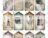 TATTERED TAGS - Instant Download - Hang Tags - LABELS - Digital Collage Sheet -  Vintage Epherma