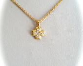 Shimmering Gold Vermeil White Stone Cross Charm Necklace Gold Chain Feminine Minimalist Feminine Gold Cross Pendant Necklace