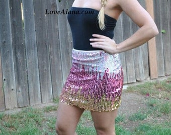 Last One! Small Pink Silver Gold Sequin Skirt - Stretchy, multi-color party skirt - Small only left! amazing in person!
