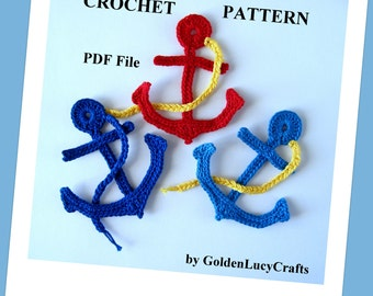 Crochet Pattern Anchor Applique, Sea Motif, PDF File
