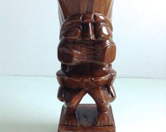 Large Vintage Wood Tiki God.  Hawaii, Tiki Bar.   Souvenir Hawaii.  Hawaiiana.  Mid century modern, kitsch, Eames era.