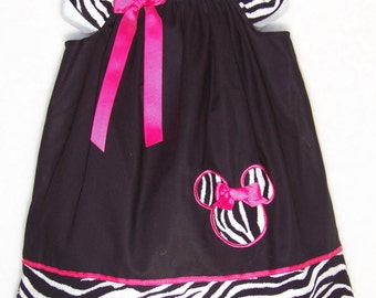 Minnie Mouse Dress / Pink / Zebra & Black / Disney/ Birthday/ Newborn / Infant / Baby / Girl / Toddler / Handmade / Custom Boutique Clothing