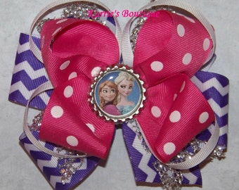 ELSA & ANNA Hair Bow or Headband / Silver + Pink + Purple / Frozen / Disney / Pageant / Photo Prop / Infant / Baby / Girl/ Toddler/ Boutique