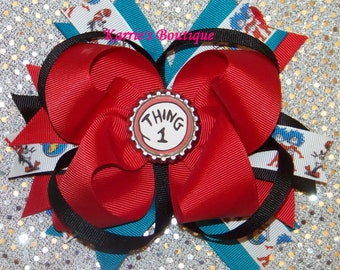 THING 1 or THING 2 Hair Bow or Headband / Dr. Suess / Twins / Red / Blue / Infant / Baby / Girl / Toddler / Custom Boutique Clothing