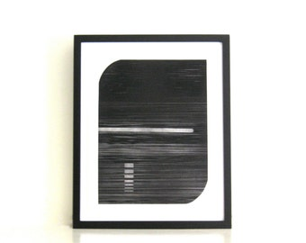 "Enjoy 30 % off -use THX30.  Minimalist Art . Etching Print . Black and White :  Track 1 . Print Size 14"" x 18"" . Unframed ."