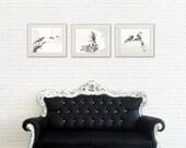 Set of 3 prints, 8x10 print, Animal Painting, Watercolor Painting, Living Room Decor, Bird Art, print set