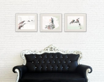 Set of 3 prints, 8x10 print, Animal Painting, Watercolor Painting, Living Room Decor, Bird Art, print set