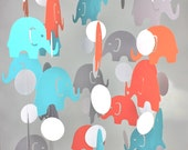 Aqua, Coral Gray Nursery Crib Mobile // Elephant Baby Mobile CHOOSE COLORS