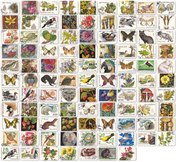 Nature, Soviet Stamps - Set of 97. 1970s-1990s. Postal, Postage Stamp, Collecting, Philately