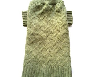 Dog Clothes, Large Wool Green Cable Knit Designer Dog Sweater, Handmade Pet Puppy Apparel Boutique