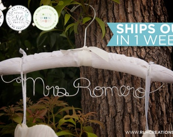 Padded Wedding Hanger / Personalized Bridal Hanger / Padded Name hanger / Bride Hanger / Name Hanger / White Padded Hanger / 14 Wire Colors
