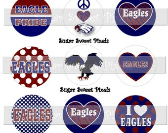 INSTANT DOWNLOAD Navy Blue maroon  Eagles 2 School Mascot 1 inch circle Bottle cap Images