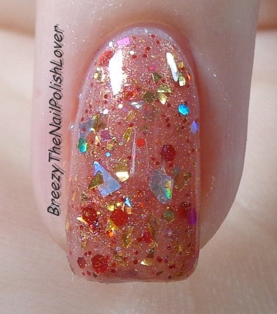 Opal Glitter Nail Polish: By MDJ Creations Red Gold Holographic Glitter