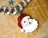 Vintage Santa Claus Charm-Sterling Silver & Enamel w/ Original Jump Ring-Sparkly Red, White, Silver-1950s Retro Holiday Christmas Charm