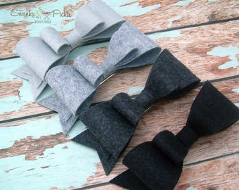 Felt Hair Bow - Gray Hair Bow - Black Hair Bow - Wool Felt - Basic Hair Bow - Hair Clip - Hair Barrette - French Clip - Girls - Women - Teen