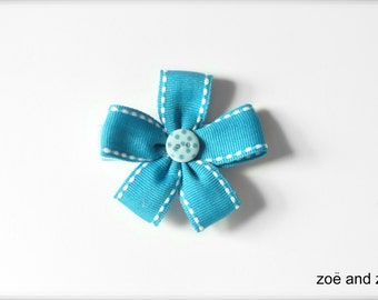 Blue ribbon flower barrette