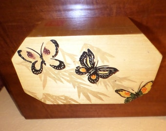 Jewelry BOX/WOOD/BUTTERFLIES/Trinket Box/Black Butterfly