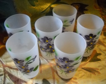Violets For You, Vintage Handpainted Frosted Juice Tumblers, Set of 6