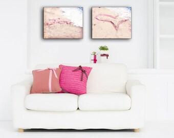 Beach Wall Art Canvas Set, Heart Sand Writing Art, Whimsical, Love, Pink Canvas  Art, Nursery Decor, Gift Idea