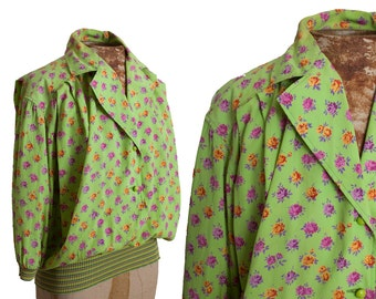 70s UNGARO PARIS Blouse size Medium, Warhol Pop Art Rose Print, Bright Spring Green, Floral Print, Button Down Shirt, 1970s designer