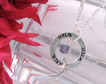 Wish Circle Word Pendant Necklace - Shooting Star Charm - Purple Tanzanite Bead - Gifts Under 20