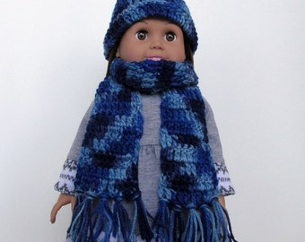 Crochet Toboggan Hat and Fringe Scarf Set in Varigated Blues for 18 Inch Dolls
