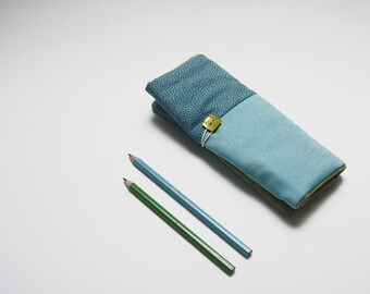 Pencil roll holder for kids with turquoise cotton and with turquoise and blue dots, pencil case. Ready to ship