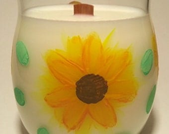 Sunflower Floral Art Soy Candle