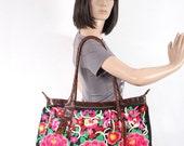 Tote Bag Chenille Pink Flower Fabric Thailand Handmade Leather Strap (BG719C-PIR)