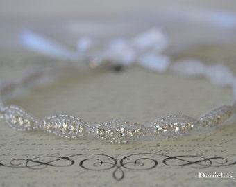 Wedding Hair Accessory, Beaded headband, Ribbon Headband,rhinestone headband