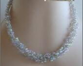 Beaded necklace wire crochet- lavender pink blue yellow green watercolor garden jewelry-womens jewelry-spring summer monet jewelry-SRAJD