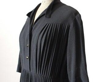 1940s DRESS // Black Crepe 40s Dresss // Medium- Large