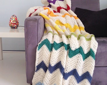 Rainbow blanket - cream white multi color crochet chevron afghan throw -> made to order