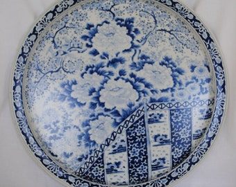 "Platter//Tray 13 1/2"" Blue & White Lithograph Chrysanthemum Chinoriese Design"