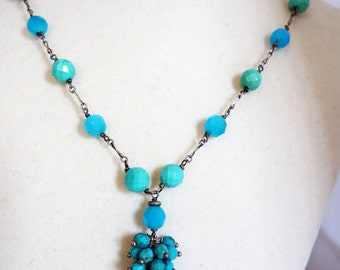 Turquoise, Blue Quartz,  Carnelian,  Sterling Silver Necklace, Handmade Vintage, Mother's Day Gift