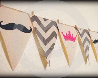 Gender Reveal Chevron Party Banner-Baby Gender Reveal Party- baby shower-Little Man Party-Princess banner-mustache party-baby shower